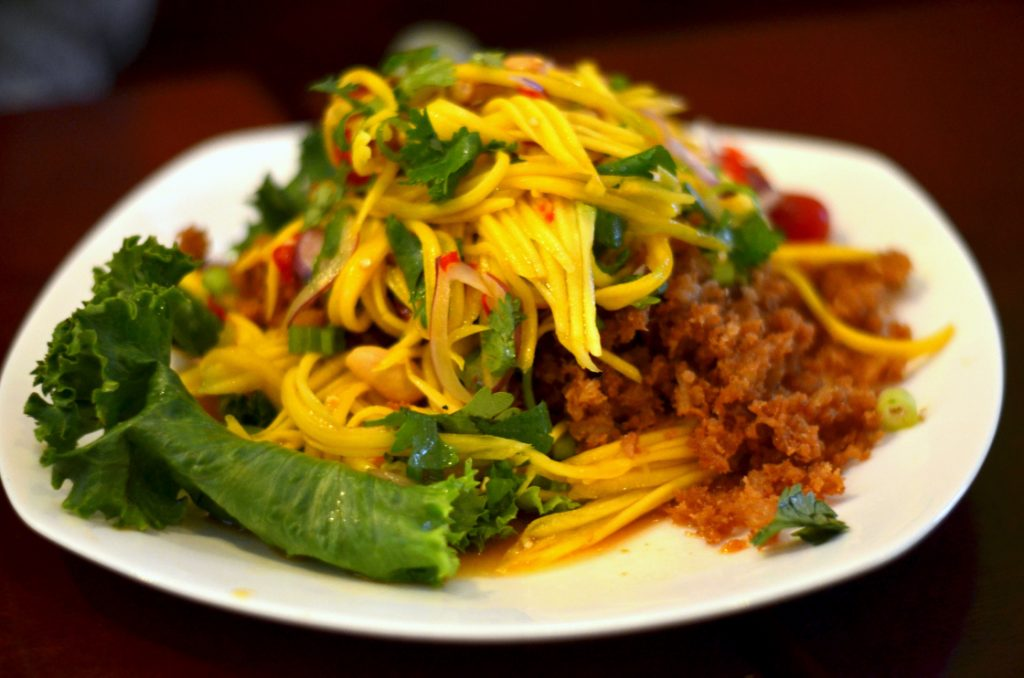 Delicious fried catfish mango salad. Yummy!