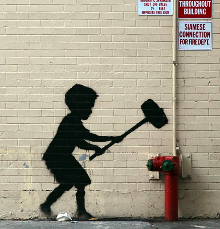 Famous Banksy's Hammer Boy in Upper West Side.